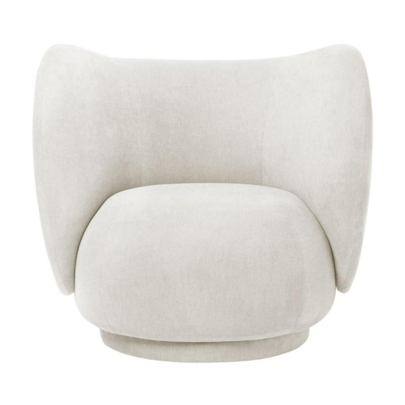 Rico Lounge Chair, Faded Velvet, Off-White