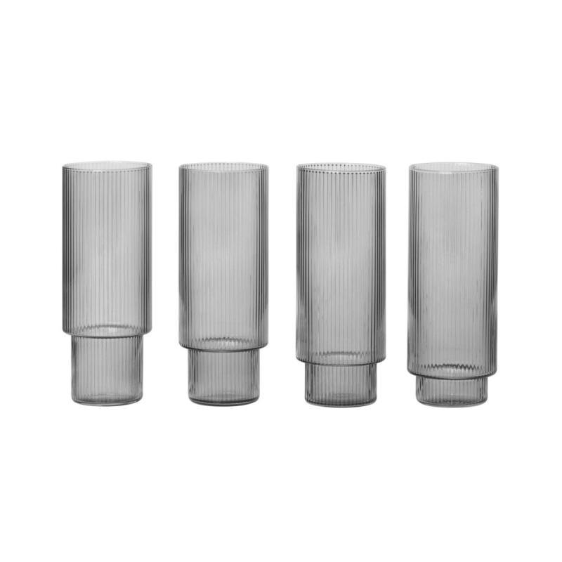 Ripple Long Drink Glasses, Set of 4