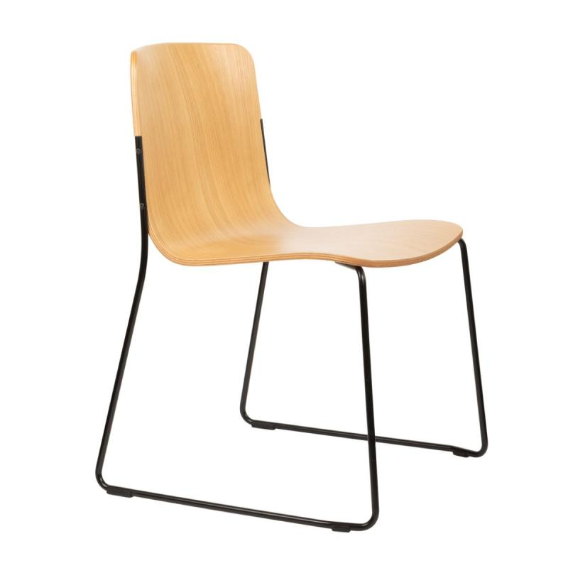 Robbie Chair, Natural Oak Veneer Seat / Black Base