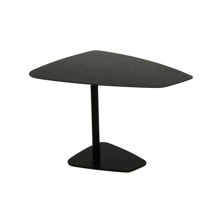 Rock Table, Height-Adjustable, Black MDF With Veneer Top / Black Base