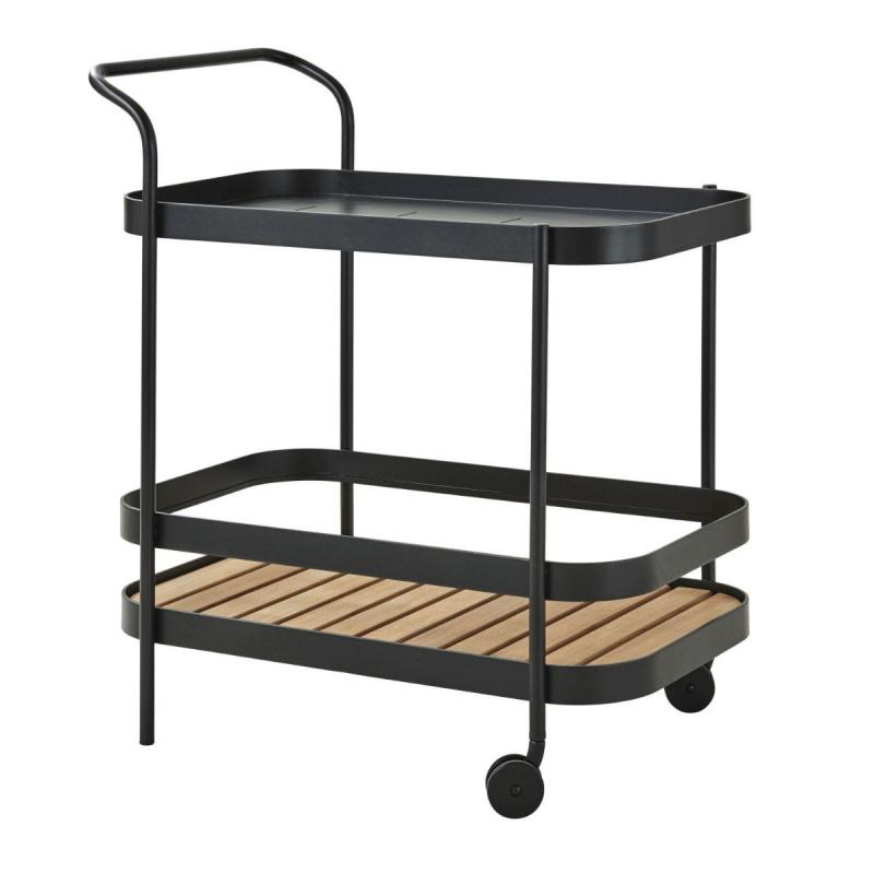 Roll Bar Trolley With Teak Table Top, Lava Grey