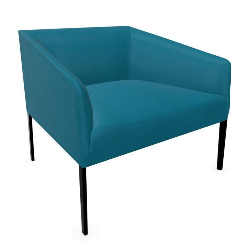 Saari Armchair, Wide, Blue Upholstery / Black Tube Base
