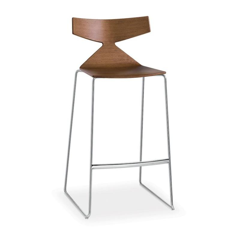 Saya Bar Stool, H75cm, Oak Seat / Chromed Sled Base