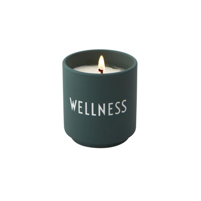 "Scented Candle, Dark Green ""WELLNESS"""
