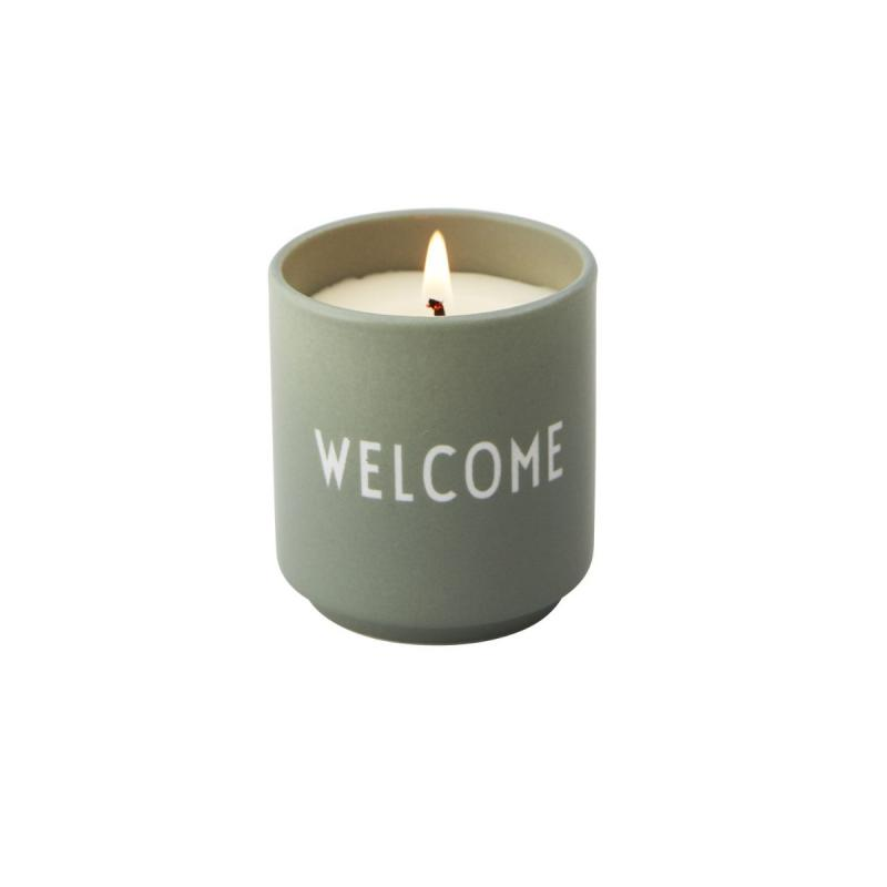 "Scented Candle, Light Green ""WELCOME"""