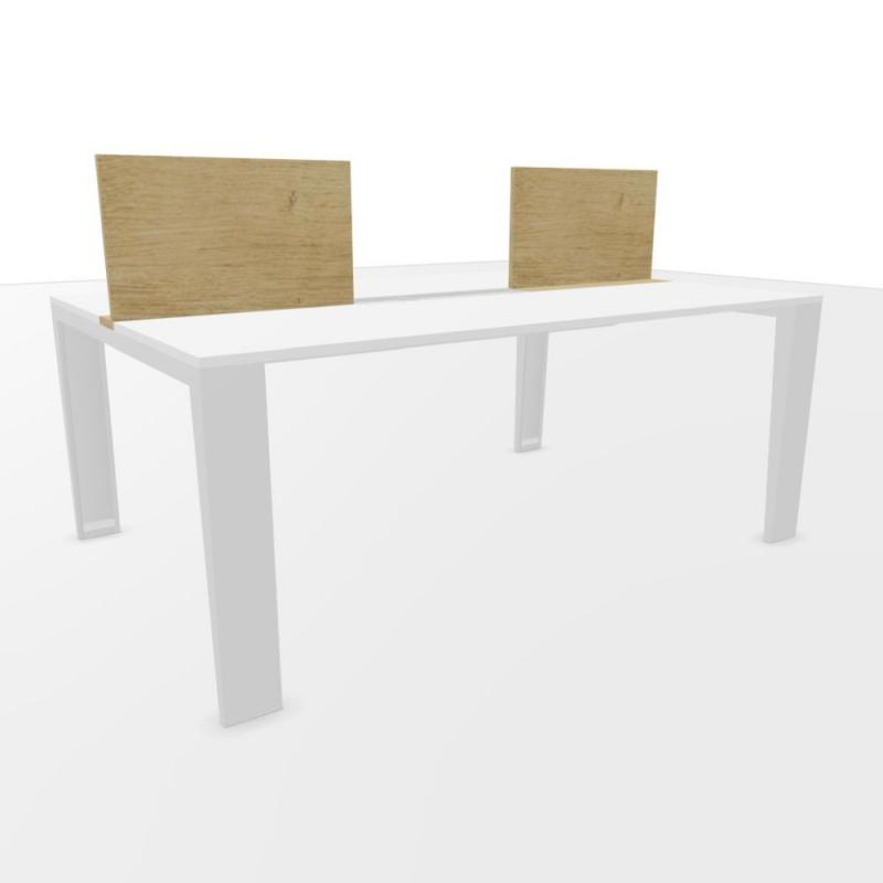 Senses Bench Table, With Screens, 180x120cm, White Laminate Top / Grey Frame