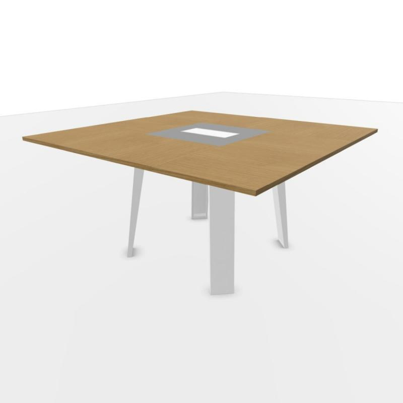 Senses Meeting Table, 140x140cm, Natural Oak Top / Textured White Frame