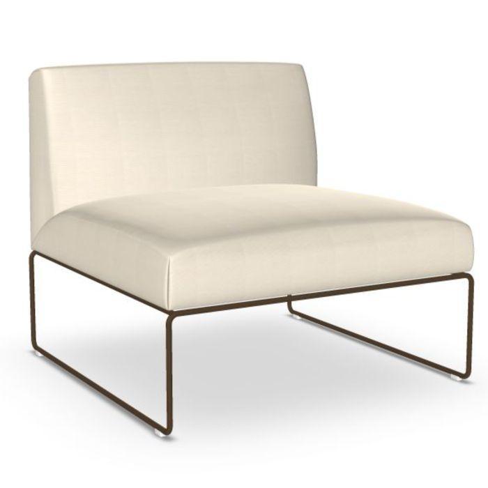 Siesta Sofa, 1-Seater, White Upholstery / Black Sled Base