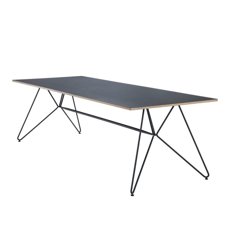 Sketch Indoor Dining Table, 168x95cm, Black Linoleum Top / Black Metal Frame