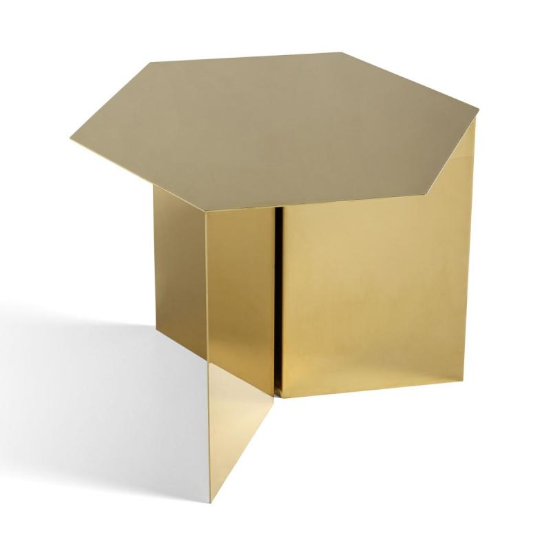 Slit Hexagon Side Table, Brass