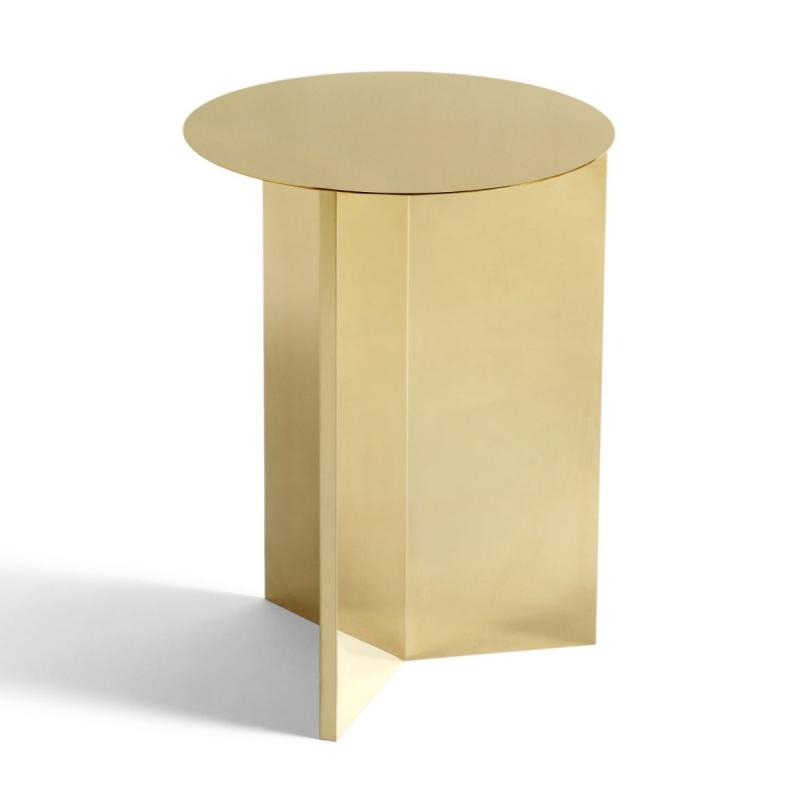 Slit Round High Side Table, Brass