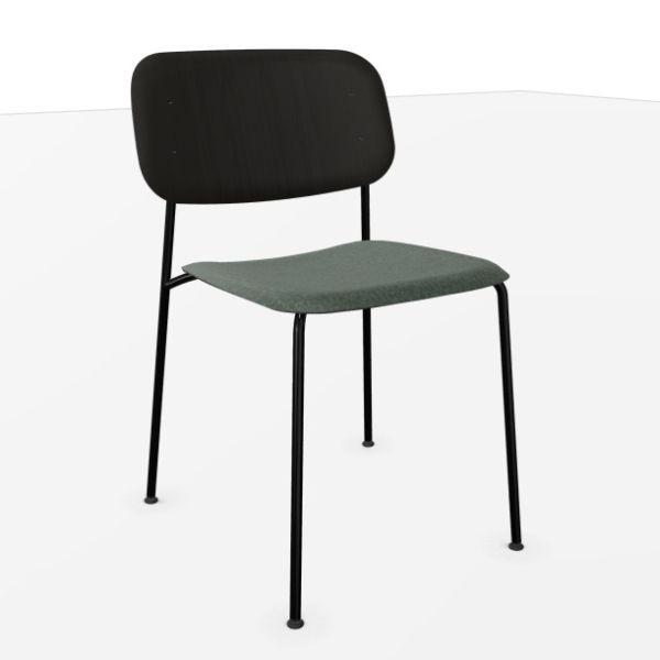 Soft Edge 10 Chair, Black Oak Back Rest / Dark Grey Upholstery / Black Base
