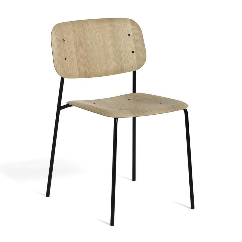 Soft Edge 10 Chair, Matt Lacquered Oak Seat / Black Base