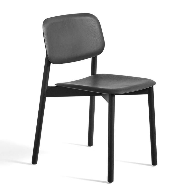 Soft Edge 12 Chair, Black Stained Oak Seat & Base