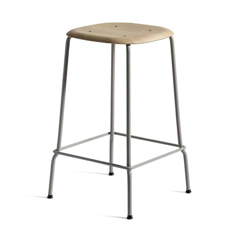 Soft Edge 30 Bar Stool, High, Clear Lacquered Oak Seat / Soft Grey Base