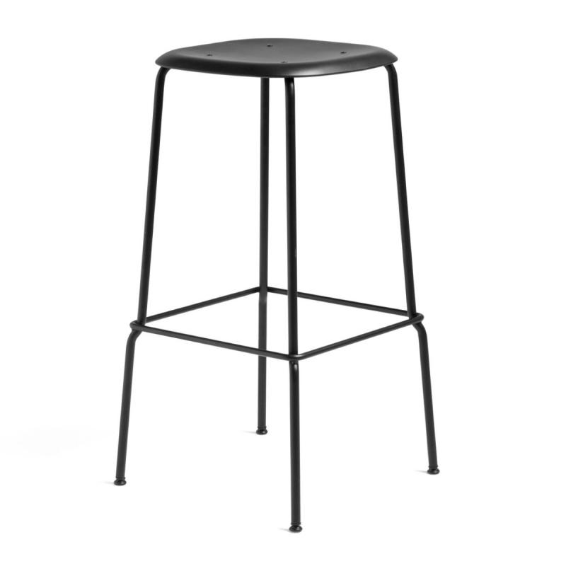 Soft Edge P30 Bar Stool, High, Black Seat / Black Base