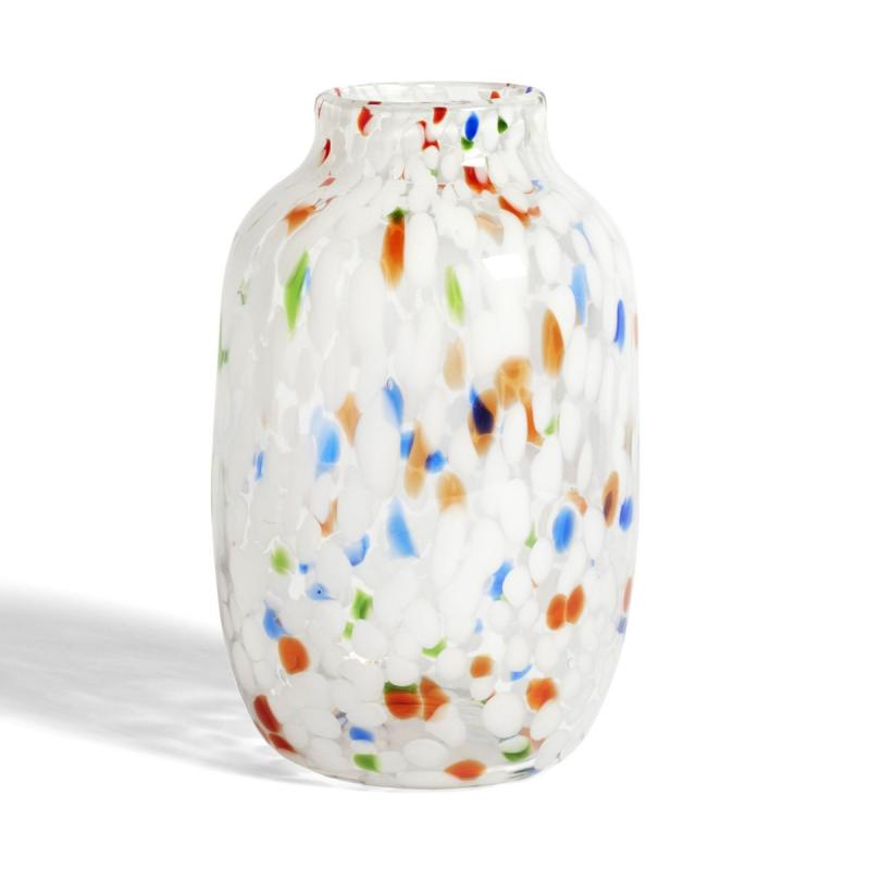 Splash Vase, Round, L, White Dot