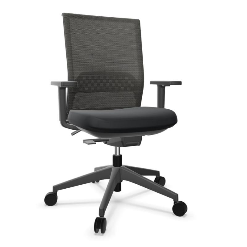 Stay Office Chair, Black Harlequin Backrest and Seat / Black Base