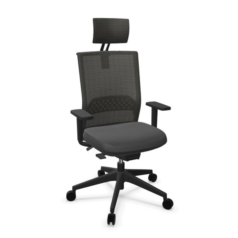 Stay Office Chair With Headrest, Black Backrest and Seat / Black Base