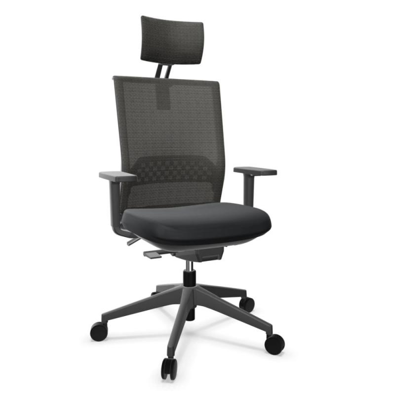 Stay Office Chair With Headrest, Black Harlequin Backrest and Seat / Black Base