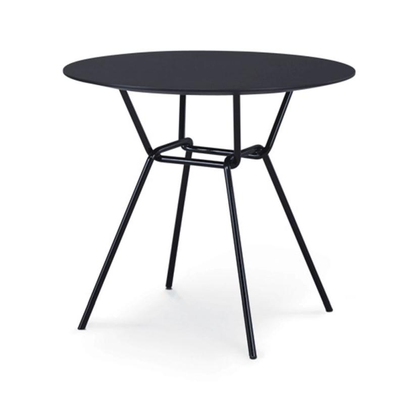 Strain Low Table, Ø50cm, Black HPL Laminate Top / Black Metal Base (Indoor & Outdoor)
