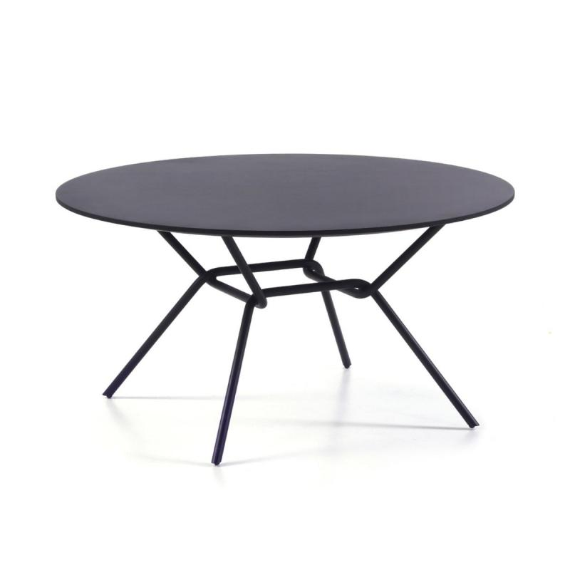 Strain Low Table, Ø70cm, Black Fenix Top / Black Metal Base