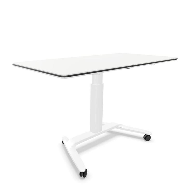 Talent 500 Height Adjustable Table With Castors 160x69x74-104cm, White MFC Table Top / White Frame