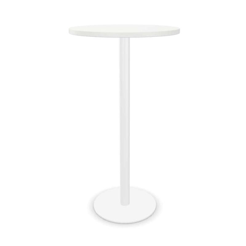 Tabula Tar-10 High Table, Ø60cm, White MFC Top / White Base
