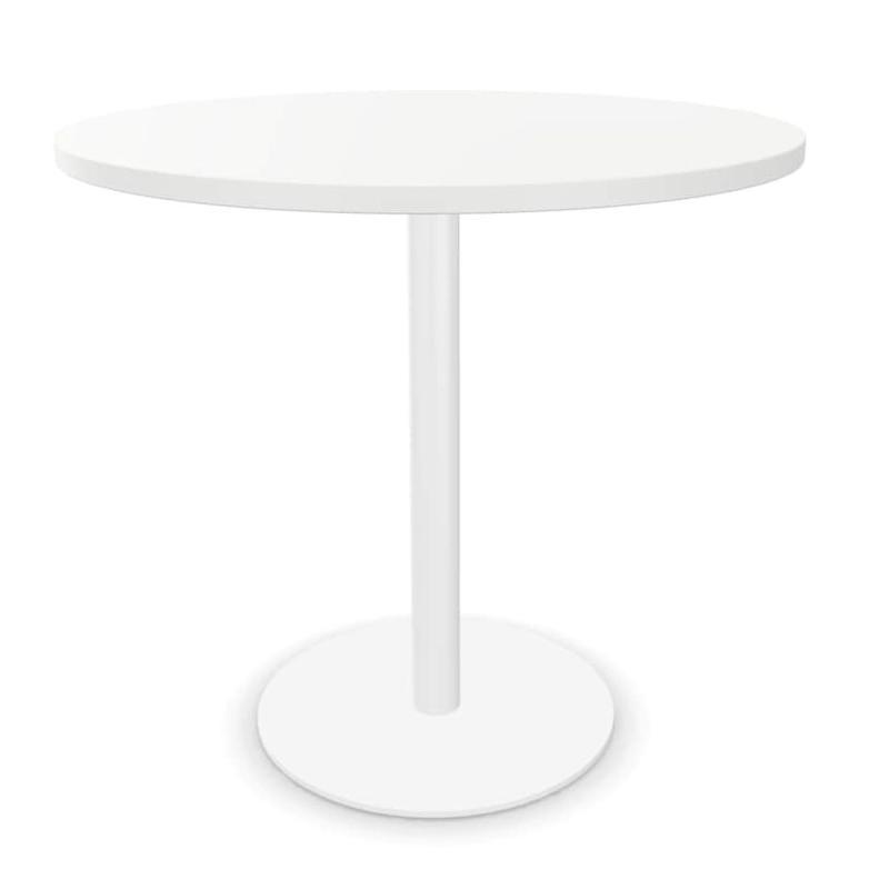 Tabula Tar-10 Table, Ø80cm, White MFC Top / White Base