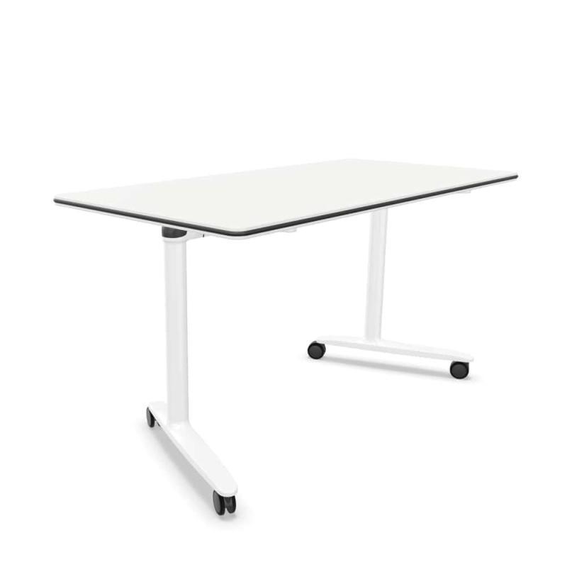 Talent 300 Desk With Castors, 160x80cm, White MFC Top / White Base