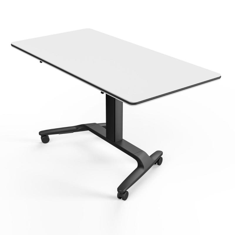 Talent 500 Height Adjustable Flip Top Table With Castors, 160x69x74-104cm, White MFC Top / Black Frame