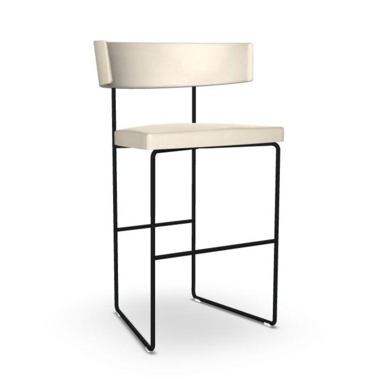 Tauro Barstool, White Upholstery / Black Sled Base