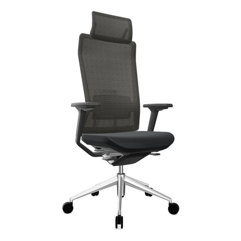 TNK Flex 30 Task Chair With Headrest, Black Backrest and Seat / Polished Aluminium Base