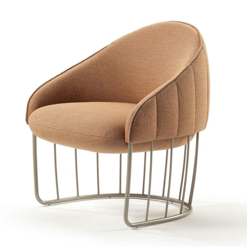 Tonella Quilted Mini Armchair, Light Grey Upholstery / Bronze Tube Base