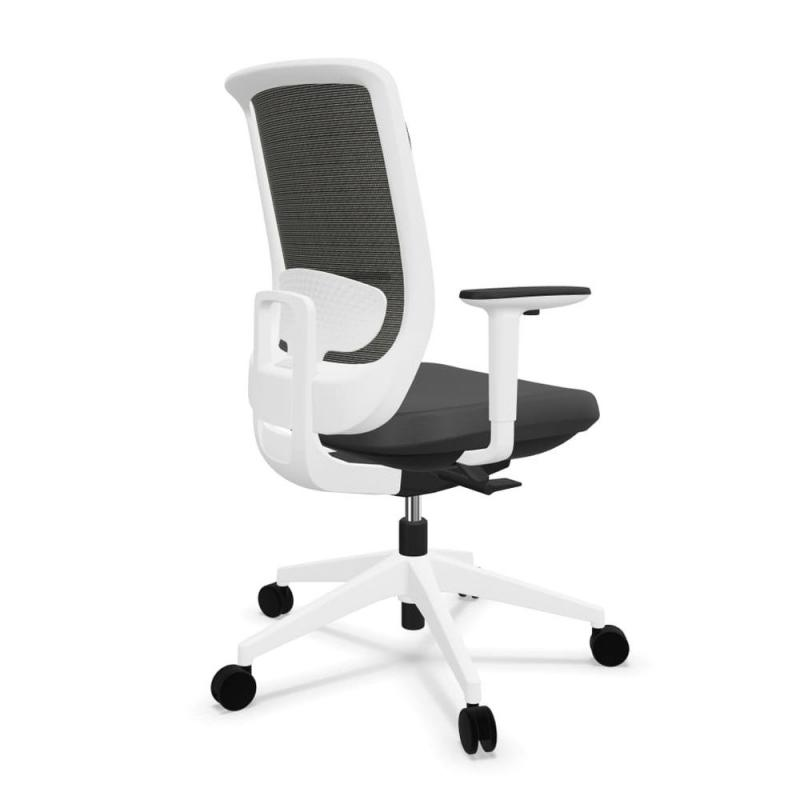 Trim Office Chair, Black Net Mesh Back / White Frame