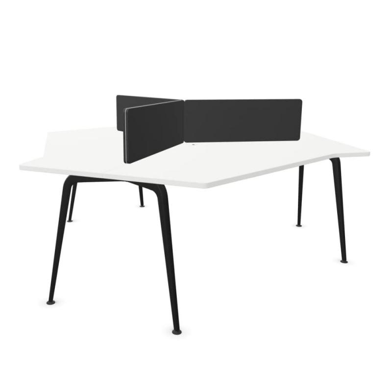 Twist GEN 100 Triple Desk, White MFC Table Top / Black Legs / Beige Screens