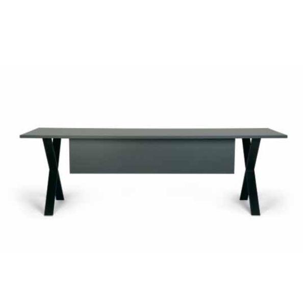 TX Individual Desk, X Legs, 180x80cm, Black MDF Top / Black Steel Frame