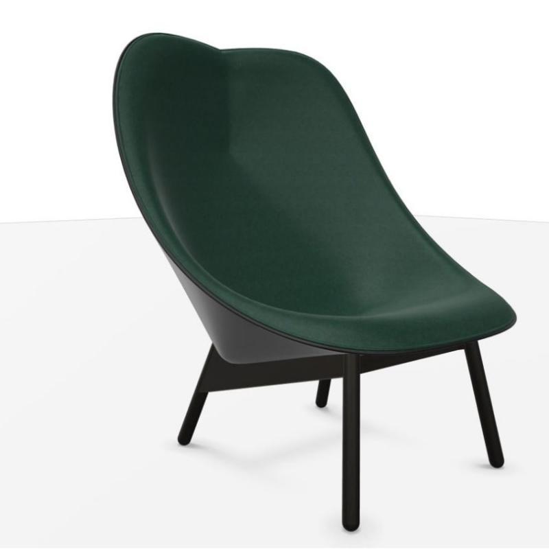 Uchiwa Armchair, Dark Green Velour Upholstery / Black Base