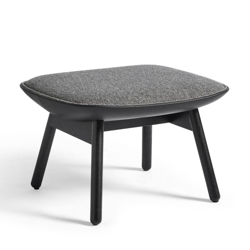 Uchiwa Ottoman, Dark Green Velour Upholstery / Black Base