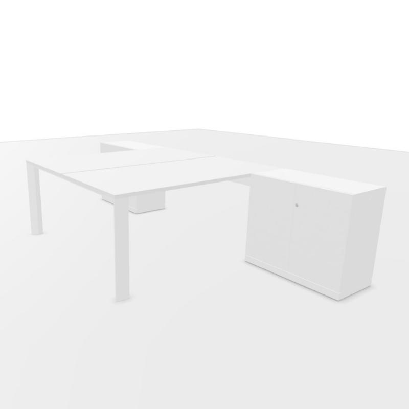 UM Bench Table, With 2 Cabinets, 320x160cm, White Laminate Top / Textured White Frame