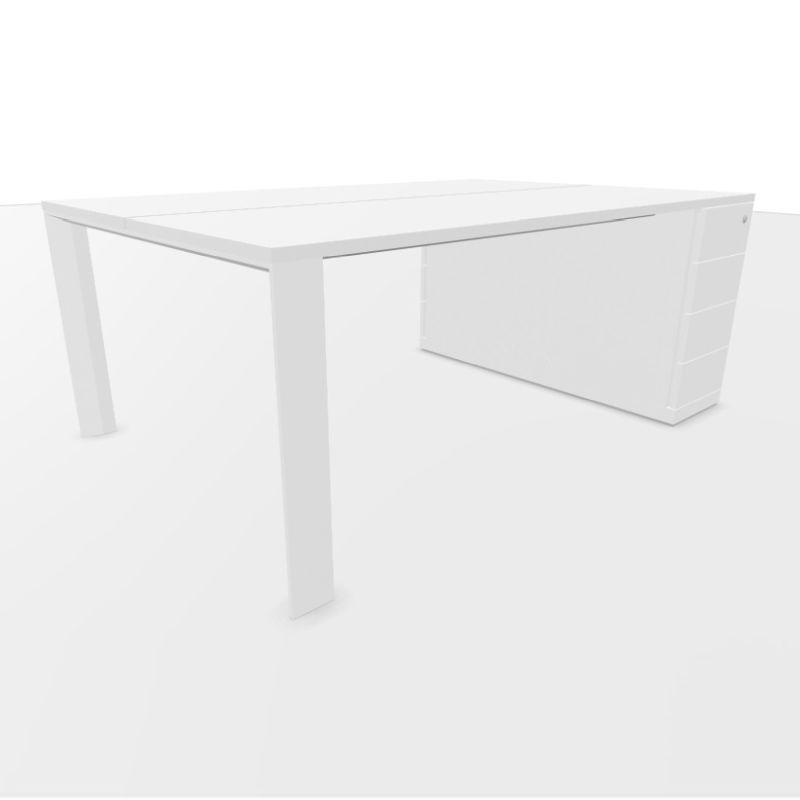 UM Bench Table, With Support Pedestal With 4 Drawers, 180x120cm, White Laminate Top / Textured White Frame