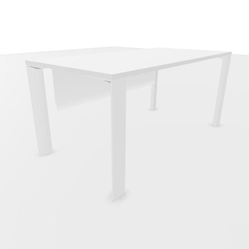 UM Rectangular Desk, With Modesty Panel, 160x80cm, White Laminate Top With Black Edge / White Frame