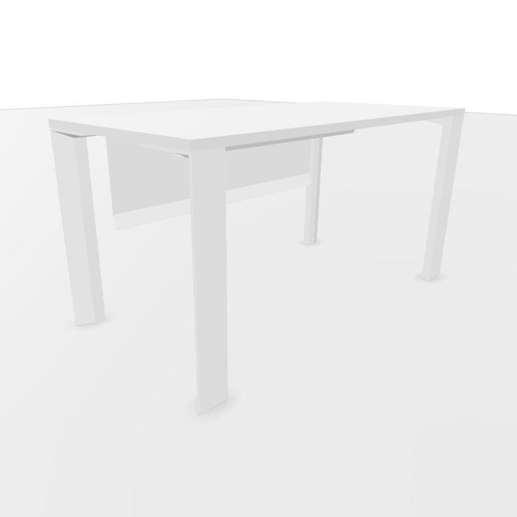 UM Desk, With Modesty Panel, 140x70cm, White Laminate Top / White Textured Frame