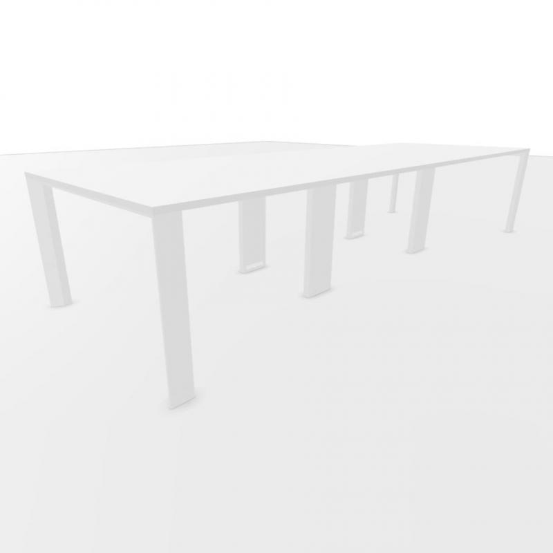 UM Meeting Table, 360x120cm, White Laminate Top / White Textured Frame