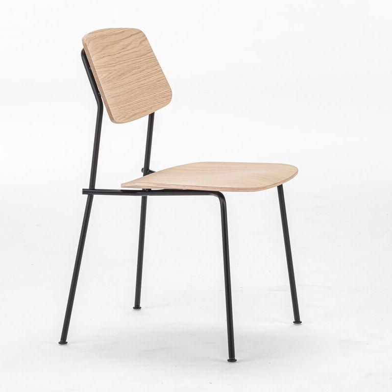 Unstrain Chair, Oak Seat & Back / Black Metal Frame