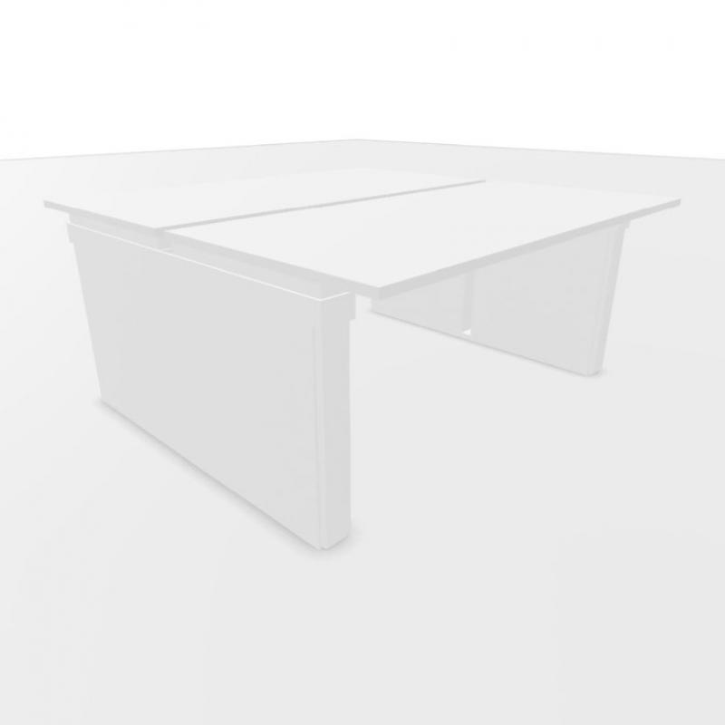 UP Double Desk, 160x160cm, White Laminate Top / Grey Frame