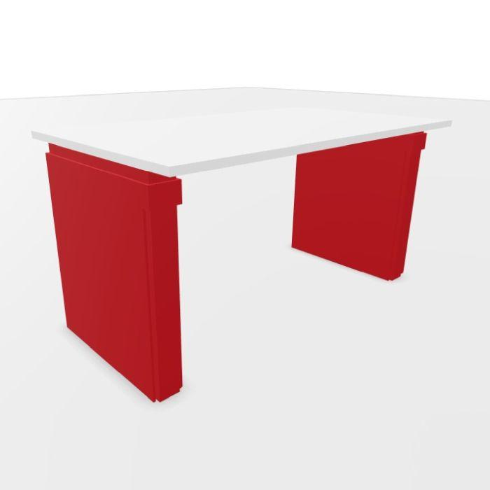 UP Height Adjustable Desk, 140x80cm, White Laminate Top / Red Frame