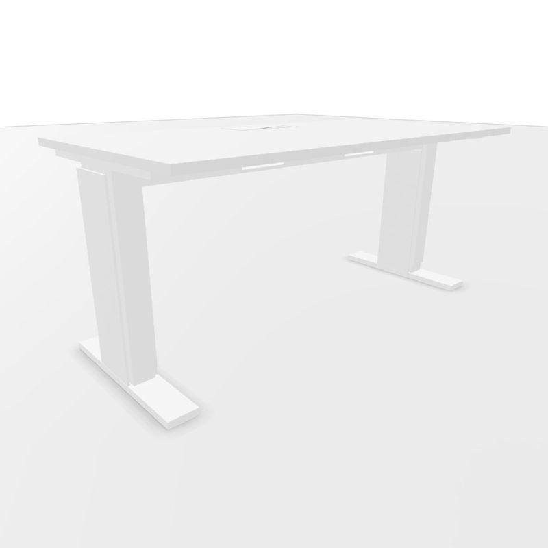 UP Height Adjustable Desk (Manual), 160x80cm, White Laminate Top / White Textured Frame