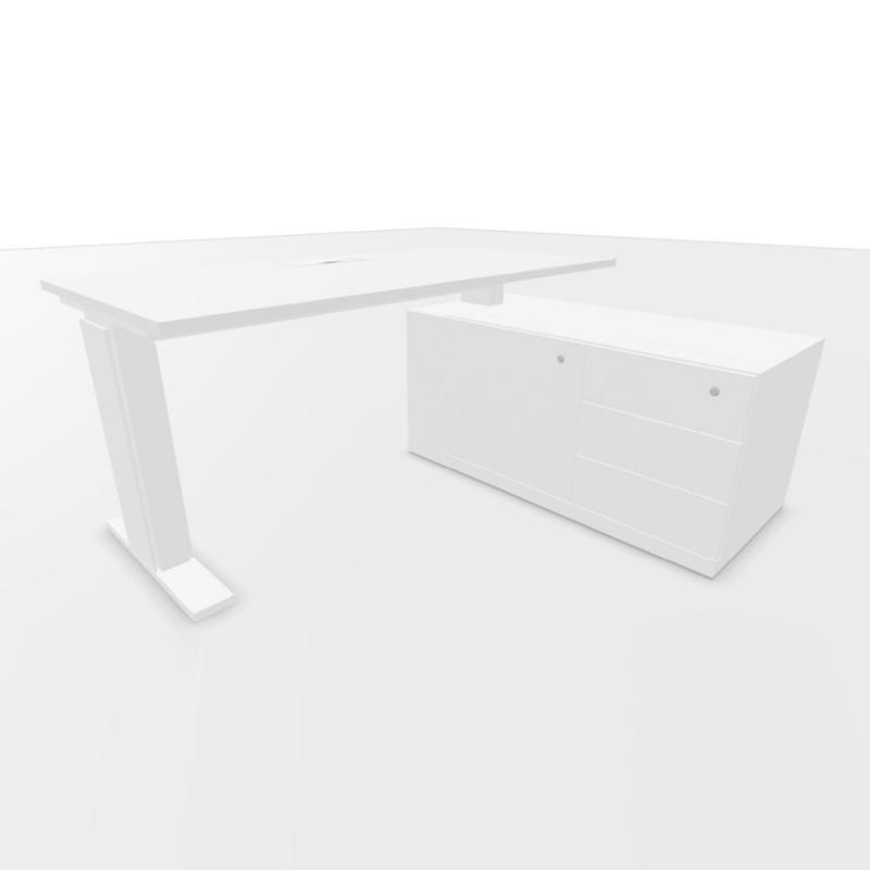 UP Height Adjustable Desk, With Support Pedestal, 160x80cm, White Laminate Top / White Textured Frame