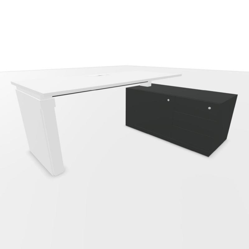 UP Height Adjustable Desk, With Support Pedestal, 180x80cm, White Laminate Top / Anthracite Frame